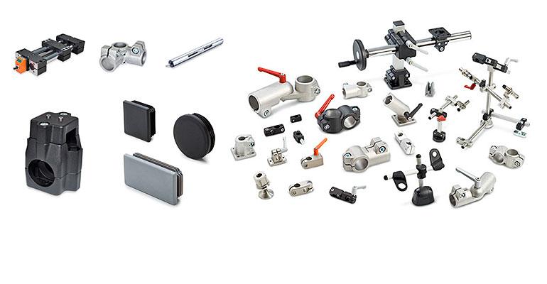 Gama de actuadores lineales, soportes y conectores para tubo Elesa+Ganter
