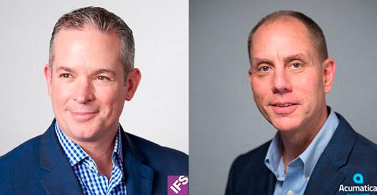 Darren Roos, CEO de IFS, y Jon Roskill, CEO de Acumatica