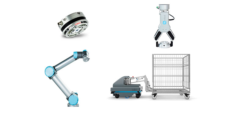 Diversos productos de las compañías que distribuye RobotPlus: OptoForce (sensores hápticos), Universal Robots (brazos robóticos), On Robot (pinzas), MiR (robots móviles autónomos)